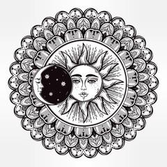 Vector sun eclipse mandala with ornament.