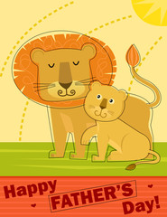 Father's Day Greeting Card - Stylized Happy Father's Day greeting card with father lion and his cub. Eps10