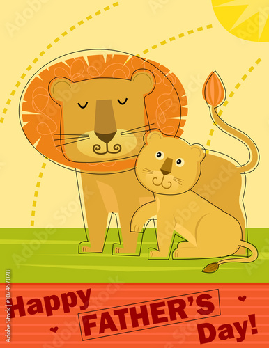 Fathers day greeting card stylized happy fathers day greeting fathers day greeting card stylized happy fathers day greeting card with father lion and his m4hsunfo