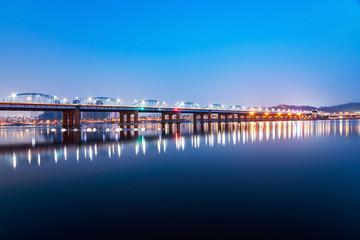 Dongjak bridge over the Han river at night