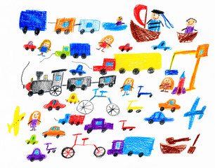 cartoon game toy and people collection, children drawing object on paper, hand drawn art picture