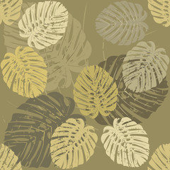 Seamless Pattern with tropical leaves of Monstera