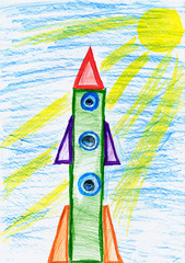 space rocket at launch, children drawing object on paper, hand drawn art picture