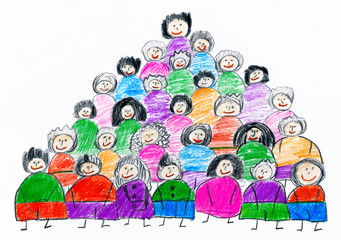 cartoon people team collection group portrait, children drawing object on paper, hand drawn art picture