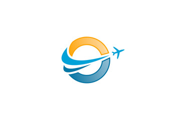 world travel air plane globe logo