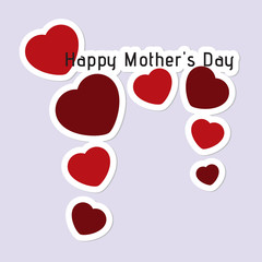Mothers Day card with hearts and text