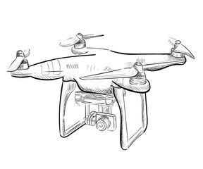 Hand draw vector illustration aerial vehicle quadrocopter. Air drone hovering. Drone sketch