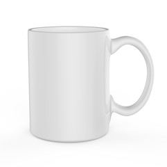White mug template isolated on white background.
