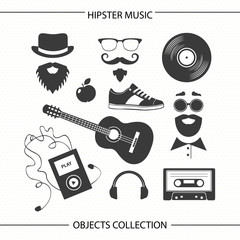 Hipster music objects collection