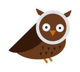 Great horned Owl, bubo virginianus subarcticus flat cartoon wildlife nature bird vector illustration.