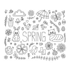 Spring doodle elements. Vector cute hand drawn spring elements - bunny, cat, flower, bird, chicken, sun, cloud, umbrella, butterfly, rubber boots, easter egg, watering can. Outline.