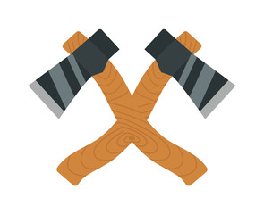Axe logo steel isolated and sharp axe cartoon weapon icon on white