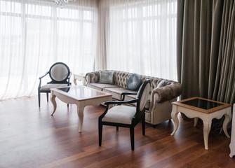 Great living room in villa house interior