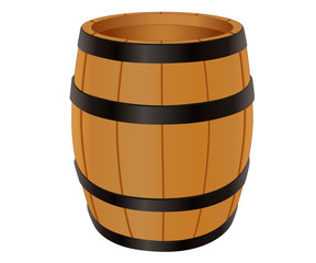 Empty wooden barrel