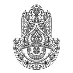 Vector hand drawn doodle hamsa with ornament. Ethnic hand with doodle ornament.