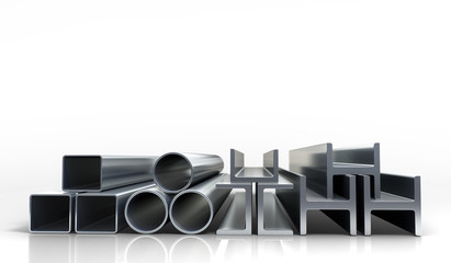 3d illustrations square metal tubes and profiles isolated on whi