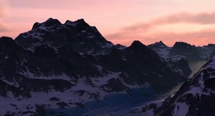 Rocky Mountain Lake Canyon at Sunrise or Sunset