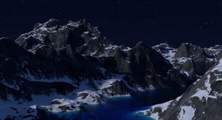 Rocky Mountain Lake Scene at Night
