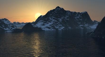 Rocky Mountain Lake Landscape at Sunset or Sunrise