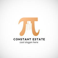 Constant Estate Abstract Vector Icon, Label or Logo Template. Pi Sign with Negative Space Buildings.