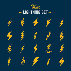 Unusual Abstract Vector Lightning or Blizzard Flat Style Icon Set.