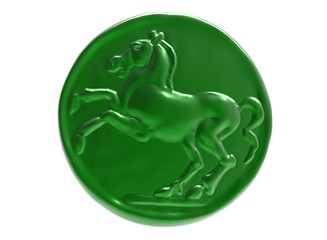 3D illustration coin with horse. icon coin. head of horse. chockolate coin. sweets sugar. metal gold coin ancient. roman empire money.