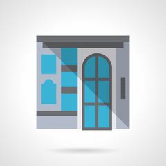 Commercial building facade flat design vector icon