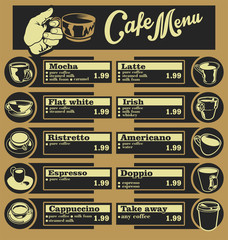 Set of coffee menu with a cups of coffee drinks illustrations
