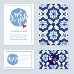 Antique, vintage card wedding azulejos in Portuguese tiles style.