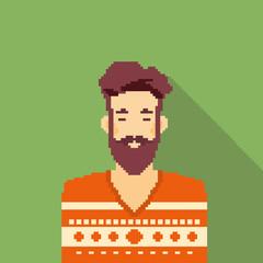 Man Hipster Style Beard Portrait Pixel