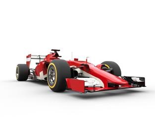 Red Formula One Car - Low View Closeup