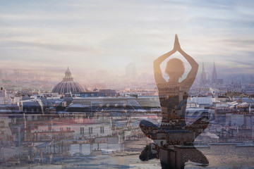 Wall Mural - yoga and meditation in big city, double exposure, mindfulness concept, harmony in life