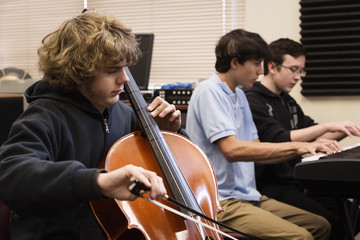 Students practicing in high school band class