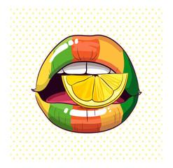 lemon glossy style rainbow lips