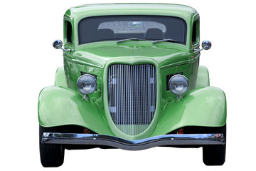 Classic green roaster car on white background