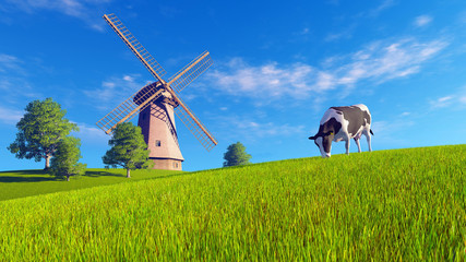 Wall Mural - Rural landscape with single mottled dairy cow grazing on a green meadow and windmill in the distance. Realistic 3D illustration was done from my own 3D rendering file.