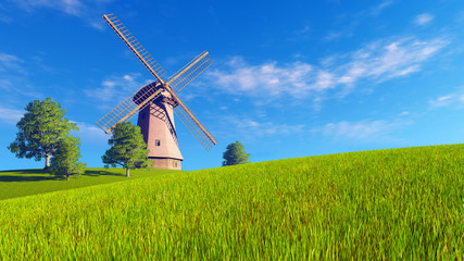 Wall Mural - Summer or spring rural landscape with windmill on a green meadow under blue cloudy sky. Realistic 3D illustration was done from my own 3D rendering file.