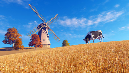 Wall Mural - Rural landscape with mottled dairy cow grazing on a meadow and windmill in the distance at autumn time. Realistic 3D illustration was done from my own 3D rendering file.