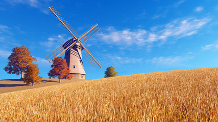 Wall Mural - Autumn rural landscape with windmill on a fields covered with dry red grass against blue cloudy sky background. Realistic 3D illustration was done from my own 3D rendering file.