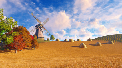 Wall Mural - Autumn rural landscape with windmill and haystacks on a fields covered with dry grass. Realistic 3D illustration was done from my own 3D rendering file.