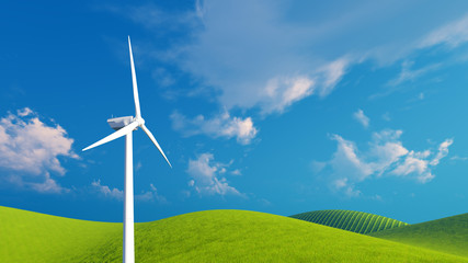 Decorative landscape with single eco-friendly wind turbine on a green hills against blue cloudy sky background. 3D illustration was done from my own 3D rendering file.