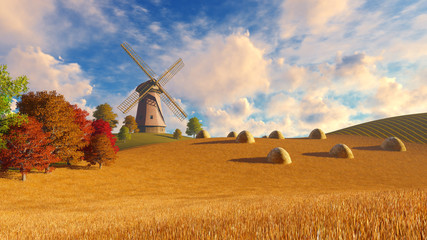 Wall Mural - Farm landscape with windmill among autumn fields under blue cloudy sky and haystacks on foreground. Realistic 3D illustration was done from my own 3D rendering file.