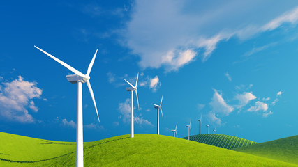 Row of eco-friendly wind turbines on a green fields under blue cloudy sky at sunny day. Decorative 3D illustration was done from my own 3D rendering file.