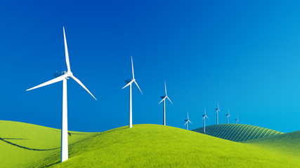 Decorative landscape with row of eco-friendly wind turbines on a green hills against clear blue sky background. 3D illustration was done from my own 3D rendering file.