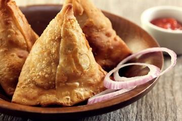 Homemade Samosas Indian Food close up view