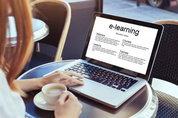 Fototapeta e-learning, education online concept, woman with laptop