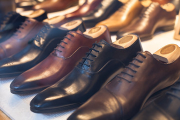 luxury leather male shoes in the shop