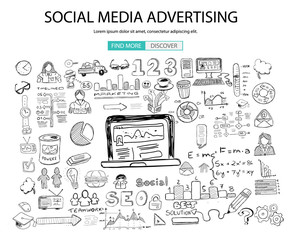 Social Media Advertising concept with Doodle design style: online solution