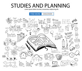 Educational and Learning concept with Doodle design style :teaching solution