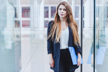 portrait of business woman looking at the camera